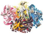 arceus claws deviantart_username dialga eye_contact giratina green_eyes looking_at_another looking_away monster multicolored multicolored_background no_humans palkia pokemon pokemon_(creature) pokemon_(game) pokemon_dppt red_eyes signature simple_background twarda8 white_background