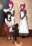 3girls absurdres angry apron black chair female hair hairband high_resolution highres hisui kohaku long_hair maid maid_headdress multiple_girls pleated_skirt redhead school_uniform siblings sisters sitting sitting_on_chair skirt tagme tohno_akiha tsukihime twins very_high_resolution vocher