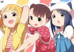 3girls :d absurdres akamatsu_yui arms_behind_head blonde_hair blue_hair blue_ribbon brown_eyes brown_hair child collarbone dress hair_bobbles hair_ornament hat hat_with_ears highres jacket kamonegi_(meisou1998) kise_sacchan kotoha_(mitsuboshi_colors) layered_dress looking_at_viewer mitsuboshi_colors multiple_girls open_clothes open_jacket open_mouth outstretched_arm polka_dot polka_dot_dress puffy_short_sleeves puffy_sleeves red_dress ribbon shirt short_hair short_sleeves side_ponytail smile striped striped_background striped_shirt upper_body