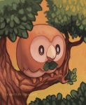 beak bird black_eyes commentary creature deviantart_username full_body no_humans owl pokemon pokemon_(game) pokemon_sm rowlet signature sky solo tree tree_branch twarda8 twilight