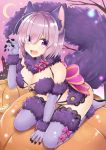 1girl animal_ears bare_shoulders between_legs blush boots bow breasts castle claw_pose cleavage crescent_moon dangerous_beast detached_collar eyes_visible_through_hair fangs fate/grand_order fate_(series) full_body fur-trimmed_boots fur_collar fur_trim gloves hand_between_legs hand_up jack-o'-lantern kneeling lace large_breasts leaning_forward looking_at_viewer mash_kyrielight moon nomu_ra_nomu pink_bow pink_footwear pink_gloves pink_hair pink_sky pumpkin revealing_clothes shiny shiny_hair short_hair solo tail tareme thigh-highs thigh_boots wolf_ears wolf_tail