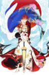 1boy 1girl artoria_pendragon_(all) blonde_hair braid cape clouds color_connection crossover dress elbow_gloves emiya_shirou excalibur fate/grand_order fate/stay_night fate_(series) flower french_braid gloves green_eyes hair_flower hair_ornament high_heels highres igote limited/zero_over orange_hair otama_(atama_ohanabatake) patterned_clothing red_sun saber white_dress white_footwear white_gloves yellow_eyes