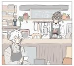2boys apron brown_hair closed_eyes coffee coffee_maker_(object) cup granblue_fantasy lucifer_(shingeki_no_bahamut) male_focus mug multiple_boys okayuchangbf sandalphon_(granblue_fantasy) smile sweater white_hair