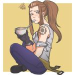1girl allen_(aak12343523) arm_tattoo belt bowl brigitte_lindholm brown_eyes brown_hair denim freckles highres jeans mouth_hold overwatch pants ponytail raised_eyebrow shoes simple_background sitting solo spoon tank_top tattoo yellow_background