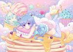 1girl :3 blue_bow blue_hair blue_legwear blue_shirt blueberry bow candy carrot checkerboard_cookie clouds colorful cookie crown cupcake double_bun eyebrows_visible_through_hair flower food fruit full_body hair_bow ice_cream inoue_takako konpeitou lollipop long_hair lying macaron marshmallow mini_crown on_stomach original pancake pillow pink_skirt polka_dot print_legwear shirt skirt solo star star_print striped striped_bow syrup thigh-highs violet_eyes zettai_ryouiki