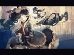 1girl animal_print artist_name backlighting bangs black_hair black_jacket black_nails black_skirt blunt_bangs butterfly_print celestia_ludenberck collared_shirt danganronpa danganronpa_1 drill_hair earrings gothic_lolita hair_ribbon hairband hand_to_own_face highres jacket jewelry lemontea letterboxed light_particles lolita_fashion lolita_hairband long_sleeves looking_at_viewer nail_polish necktie open_clothes open_jacket print_neckwear railing red_eyes red_neckwear ribbon shaded_face shirt signature skirt solo standing twin_drills twintails white_ribbon white_shirt wide_sleeves wing_collar