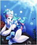 absurdres blue_eyes bubble commentary creature eye_contact eyelashes green_hair hair_ornament highres long_hair looking_at_another looking_back looking_down looking_up luvdisc midna01 no_humans pokemon pokemon_(creature) pokemon_(game) pokemon_rse pokemon_sm popplio primarina seal sitting tied_hair underwater very_long_hair watermark web_address white_border