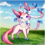 blue_eyes blue_sky closed_mouth clouds cloudy_sky commentary creature day flower foot_wings full_body grass head_tilt heterochromia looking_at_viewer midna01 pink_ribbon pokemon pokemon_(creature) pokemon_(game) pokemon_xy ribbon sky standing sylveon tail violet_eyes
