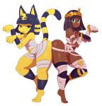 2girls :< :3 absurdres alternate_costume animal_ears ass-to-ass bandage bracelet bracer breasts cat_ears cat_tail cleavage crossover dark_skin doubutsu_no_mori egyptian_clothes eric_lowery fingerless_gloves furry gloves highres jewelry looking_at_viewer menat multiple_girls nile_(doubutsu_no_mori) paw_pose pose purple_hair simple_background street_fighter street_fighter_v tail tiara toes yellow_skin
