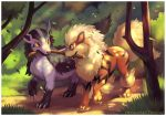 arcanine bush claws commentary commission creature deviantart_username dog eye_contact fangs grass grey_eyes looking_at_another mightyena mouth_hold no_humans outdoors pokemon pokemon_(creature) pokemon_(game) pokemon_rgby pokemon_rse red_eyes road sharp_teeth signature smile stick teeth tree twarda8 walking yellow_sclera