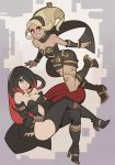 2girls black_scarf blonde_hair crow_(gravity_daze) dark_skin falling gravity_daze gravity_daze_2 hairband highres kitten_(gravity_daze) leg_warmers leotard long_hair multicolored_hair multiple_girls red_eyes redhead scarf splashbrush strapless vambraces