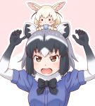 2girls :3 :o animal_ears arms_up black_neckwear blonde_hair blush_stickers bow bowtie brown_eyes chibi chibi_on_head commentary_request common_raccoon_(kemono_friends) crumbs eating fennec_(kemono_friends) food fox_ears fur_collar grey_hair highres japari_bun kemono_friends multicolored_hair multiple_girls outline raccoon_ears short_hair short_sleeves simple_background takatsuki_nao upper_body white_hair white_outline