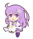 1girl chibi d-pad d-pad_hair_ornament hair_ornament highres long_hair nepgear neptune_(series) purple_hair striped striped_legwear violet_eyes