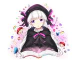1girl :o artist_name bangs beret black_bow black_capelet black_hat blush book bow butterfly capelet checkerboard_cookie commentary_request cookie eyebrows_visible_through_hair fate/extra fate_(series) food fur-trimmed_capelet hat hat_bow head_tilt heart long_hair looking_at_viewer mushroom nursery_rhyme_(fate/extra) open_book parted_lips rainbow rocm_(nkkf3785) silver_hair solo spoon star striped striped_bow very_long_hair violet_eyes white_background