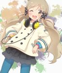 1girl ;d abstract_background bangle black_skirt blue_legwear bow bracelet coat dutch_angle eyebrows_visible_through_hair fingernails frilled_sleeves frills hair_bow hand_in_pocket handa_roko headphones headphones_around_neck highres idolmaster idolmaster_million_live! jewelry layered_skirt light_brown_hair looking_at_viewer low_twintails multicolored multicolored_background okayparium one_eye_closed open_mouth pantyhose polka_dot polka_dot_bow short_hair skirt smile solo twintails white_coat yellow_eyes