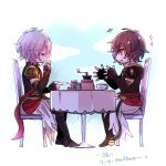 2boys armor brown_hair coffee drinking granblue_fantasy lucifer_(shingeki_no_bahamut) male_focus multiple_boys red_eyes sandalphon_(granblue_fantasy) shiina_kimagure short_hair smile table talking white_hair