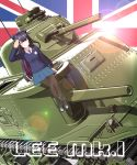 1girl 3d blue_eyes english girls_und_panzer ground_vehicle highres islander_(venom_nf3) long_hair m3_lee mikumikudance military military_vehicle motor_vehicle multicolored_hair panty_&_stocking_with_garterbelt st._gloriana's_school_uniform stocking_(psg) tank two-tone_hair union_jack