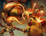 blaziken blue_eyes breathing_fire byte_(grunty-hag1) charizard clenched_hands closed_mouth commentary commentary_request creature dragon fiery_hair fire infernape looking_at_another looking_away no_humans outstretched_arms pokemon pokemon_(creature) pokemon_(game) pokemon_dppt pokemon_gsc pokemon_rgby pokemon_rse red_eyes smile standing typhlosion wings
