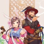 0910popo 1boy 1girl absurdres alternate_costume alternate_hairstyle animal_ears bangs braid breasts brown_eyes brown_hair bunny_hair_ornament d.va_(overwatch) facepaint facial_hair facial_mark finger_on_trigger gun hair_ornament hanbok handgun hat highres holding holding_gun holding_weapon holster holstered_weapon korean_clothes long_hair long_sleeves looking_at_viewer magistrate_mccree mccree_(overwatch) mechanical_arm one_eye_closed open_mouth overwatch palanquin_d.va pink_skirt pipe pipe_in_mouth pistol rabbit_ears revolver short_hair skirt small_breasts smile smoking striped_sleeves weapon whisker_markings