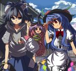 1boy 4girls ahoge bangle barefoot blouse blue_bow blue_eyes blue_hair blue_skirt blue_sky bow bowl bowl_hat bracelet building cherry_blossoms clouds collarbone commentary_request day debt eyebrows_visible_through_hair faceless faceless_male food frills fruit grey_hoodie hair_bow hat hinanawi_tenshi holding holding_another's_arm human_village_(touhou) japanese_clothes jewelry kimono leaf long_hair long_sleeves looking_at_viewer multiple_girls neck_bow obi open_mouth outdoors peach puffy_short_sleeves puffy_sleeves purple_hair red_bow red_eyes red_kimono red_neckwear sash shope short_hair short_sleeves sidelocks skirt sky smile sukuna_shinmyoumaru touhou very_long_hair white_blouse wide_sleeves yorigami_shion