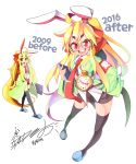 1girl 2009 2016 ahoge animal_ears armband black_legwear blonde_hair blush bongfill book comparison eyebrows_visible_through_hair fake_animal_ears hairband highres holding holding_book long_hair looking_at_viewer necktie open_mouth original pocket_watch rabbit_ears red_eyes red_neckwear signature smile teeth thigh-highs tie_clip watch