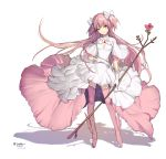 boots dress flower goddess_madoka highres invalee kaname_madoka long_hair mahou_shoujo_madoka_magica pink_footwear pink_hair rose shadow simple_background thigh-highs thigh_boots twintails very_long_hair white_dress winged_boots yellow_eyes