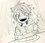 1boy akuno_hideo's_brother blue_eyes clenched_hands colored_pencil_(medium) curtains drooling dutch_angle food fork graphite_(medium) highres hood hoodie idolmaster idolmaster_side-m male_focus open_mouth pancake plate pointy_hair saliva sharp_teeth sitting smile solo teeth traditional_media