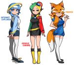 3girls animal_ears black_legwear blonde_hair blue_eyes blue_hair blush bongfill breasts closed_mouth collarbone copyright_name eyebrows_visible_through_hair firefox_(browser) fox_ears fox_tail google_chrome green_hair grey_eyes internet_explorer kneehighs large_breasts long_hair looking_at_viewer multicolored_hair multiple_girls orange_hair parted_lips redhead short_hair short_ponytail smile tail thigh-highs waving white_hair white_legwear