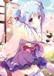 1girl blue_hair blue_ribbon blue_sky cherry_blossoms cowboy_shot day double_bun eyes flower hair_between_eyes hair_flower hair_ornament hair_ribbon hairclip highres holding japanese_clothes kimono long_hair looking_at_viewer maid_headdress miniskirt obi original outdoors purple_skirt red_eyes red_flower ribbon sash shiratama_(shiratamaco) sidelocks skirt sky solo standing thigh-highs white_legwear yellow_kimono