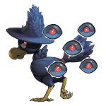 beak bird claws commentary creature eyes glowing glowing_eye looking_back murkrow no_humans pokemon pokemon_(creature) pokemon_(game) pokemon_gsc red_eyes standing standing_on_one_leg transparent_background twarda8 watermark web_address