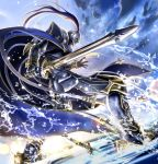 1boy armor armored_boots blue_hair boots day dutch_angle fate/grand_order fate_(series) floating_hair from_below full_armor gauntlets helmet highres holding holding_sword holding_weapon lancelot_(fate/grand_order) lens_flare long_hair masukudo_(hamamoto_hikaru) outdoors ponytail solo sword very_long_hair water weapon