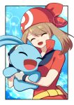 1girl absurdres breast_press breasts brown_hair closed_eyes eyebrows_visible_through_hair hair_between_eyes haruka_(pokemon) hat highres long_hair manaphy medium_breasts open_mouth pokemon red_hat red_shirt shirt short_sleeves smile solo twintails upper_body yuihiko