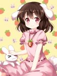 >_< 1girl :3 animal_ears brown_hair bunny_tail carrot carrot_necklace commentary_request dress eyebrows_visible_through_hair floppy_ears highres inaba inaba_tewi looking_at_viewer medium_hair petting pink_dress rabbit rabbit_ears red_eyes ribbon-trimmed_dress ruu_(tksymkw) sitting smile solo tail touhou x3