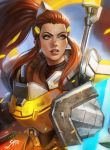 1girl banner brigitte_lindholm brown_eyes brown_hair eyebrows freckles headgear highres holding holding_weapon long_hair overwatch parted_lips ponytail power_armor shield sidelocks soffa solo upper_body weapon