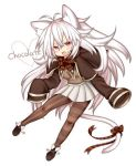 1girl :d animal_ears antenna_hair blush_stickers bow bowtie brown_legwear cat_ears cat_girl cat_tail coat english fang heart long_hair miniskirt mismatched_legwear mofuaki open_mouth original pantyhose pleated_skirt red_eyes skirt sleeves_past_wrists smile solo striped striped_legwear sweater tail tail_bow vertical_stripes very_long_hair white_hair