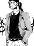 1boy alternate_costume belt bleach buttons chains character_name collared_shirt cowboy_shot denim facial_hair formal hands_in_pockets jeans kyouraku_shunsui lips long_hair long_sleeves looking_away male_focus monochrome necktie nose pants shirt simple_background smile stubble tied_hair white_background yangyieva