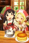 2girls absurdres bangs black_hair blonde_hair blunt_bangs blush brown_eyes cake cooking dress food green_hat hair_bobbles hair_ornament hakumei_(hakumei_to_mikochi) hakumei_to_mikochi hands_on_another's_arm hat highres indoors japanese_clothes jar kimono konju_(hakumei_to_mikochi) kurosawa_keiko long_hair low_twintails megami multiple_girls official_art open_mouth plant red_dress red_eyes red_hat smile tablecloth twintails white_kimono window wooden_table