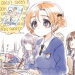 4girls black_bow black_neckwear blue_eyes blue_sweater book bow braid brown_hair chair classroom closed_eyes coco's commentary copyright_name desk dress_shirt emblem english extra eyebrows_visible_through_hair faceless faceless_female girls_und_panzer glasses hair_bow highres holding holding_book holding_pencil indoors kuroi_mimei long_sleeves mechanical_pencil multiple_girls necktie nilgiri open_mouth orange_hair orange_pekoe pencil redhead rosehip school_chair school_desk school_uniform shirt short_hair sitting sketch sleeping smile st._gloriana's_(emblem) st._gloriana's_school_uniform sweater thought_bubble tied_hair twin_braids v-neck white_shirt wing_collar zzz