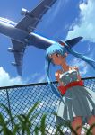 1girl aircraft airplane bangs bare_shoulders blue_eyes blue_hair blue_sky blurry blurry_foreground blush bow chain-link_fence closed_mouth clouds collarbone commentary_request day depth_of_field domo1220 dress eyebrows_visible_through_hair fence from_below glint hair_ornament hair_scrunchie hatsune_miku long_hair looking_away looking_to_the_side outdoors red_bow red_scrunchie scrunchie sky sleeveless sleeveless_dress smile solo twintails very_long_hair vocaloid white_dress