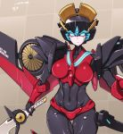 1girl autobot blue_eyes breasts character_name grid grid_background highres holding looking_at_viewer makeup mechanical_wings meme50 no_humans solo standing sword transformers weapon windblade wings