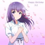 1girl bangs blurry blurry_foreground blush closed_mouth commentary_request depth_of_field dress eyebrows_visible_through_hair fate/stay_night fate_(series) hair_between_eyes hair_ribbon happy_birthday highres kamishiro_(rsg10679) matou_sakura own_hands_together petals pink_ribbon puffy_short_sleeves puffy_sleeves purple_hair ribbon short_sleeves smile solo twitter_username type-moon upper_body violet_eyes white_dress