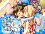 1boy 1girl black_hair blue_eyes blush brown_hair commentary_request couple haruka_(pokemon) highres luvdisc manaphy mimatanorochi no_hat no_headwear open_mouth pokemon pokemon_(anime) ribbon satoshi_(pokemon) smile swimsuit traditional_media