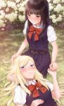 2girls absurdres asaba0327 belt black_hair blonde_hair blush bow flower grass hand_on_another's_head highres holding_hand long_hair lying_on_lap multiple_girls original red_bow school_uniform short_sleeves yuri