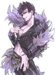 1boy belial_(granblue_fantasy) belt black_pants black_shirt cowboy_shot feather_boa granblue_fantasy hand_on_hips male_focus middle_finger midriff pants parted_lips pectorals pointing pointing_at_self red_eyes shirt simple_background smile solo toned toned_male white_background