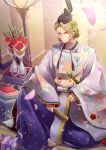 1boy blonde_hair fire_emblem fire_emblem_if flower hat highres japanese_clothes kaboplus_ko kimono looking_at_viewer marks_(fire_emblem_if) red_eyes smile solo vase