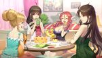 4girls absurdres ahoge aqua_shirt barefoot black_dress black_hair breasts cleavage closed_eyes crossed_arms daye_bie_qia_lian double_bun dress drill_hair eyebrows_visible_through_hair flower food green_dress green_eyes hair_flower hair_ornament hair_ribbon highres holding holding_food indoors large_breasts long_hair multiple_girls open_mouth redhead ribbon romantic_saga_of_beauty_&_devil shirt short_dress sitting sleeveless sleeveless_dress smile twin_drills twintails very_long_hair violet_eyes white_flower white_ribbon