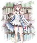 1girl bare_legs bare_shoulders blanc blue_eyes blush book bookshelf brown_hair collarbone commentary_request dress fur_trim hand_up hat looking_at_viewer neptune_(series) sarise0916 short_hair smile solo spaghetti_strap standing very_long_sleeves white_coat white_dress