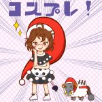 1girl ahoge artist_request blush_stickers brown_eyes brown_hair commentary_request cosplay doreking doremy_sweet doremy_sweet_(cosplay) dress emphasis_lines full_body hat head_rest highres looking_at_viewer multicolored multicolored_clothes multicolored_dress nightcap open_mouth polka_dot polka_dot_background pom_pom_(clothes) short_hair smug solo sparkle standing tail tapir tapir_tail touhou translation_request usami_sumireko white_footwear