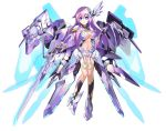 1girl absurdres alternate_breast_size armor bangs blue_eyes breasts cleavage company_connection copyright_name elbow_gloves eyebrows_visible_through_hair full_body gloves hair_ornament highres holding holding_weapon large_breasts long_hair looking_at_viewer mechanical_wings navel nepgear nepnep_connect:_chaos_chanpuru neptune_(series) nkmr8 official_art purple_hair purple_sister shoulder_armor simple_background smile solo weapon white_background wings