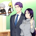 1girl 3boys artist_request blonde_hair business_suit chalkboard commentary_request fate/grand_order fate_(series) father_and_son formal galahad_(fate) glasses heart jewelry lancelot_(fate/grand_order) long_hair minamoto_no_raikou_(fate/grand_order) mother_and_son multiple_boys necktie pencil purple_hair sakata_kintoki_(fate/grand_order) school_uniform silver_hair smile suit sunglasses sweater turtleneck turtleneck_sweater violet_eyes yellow_eyes